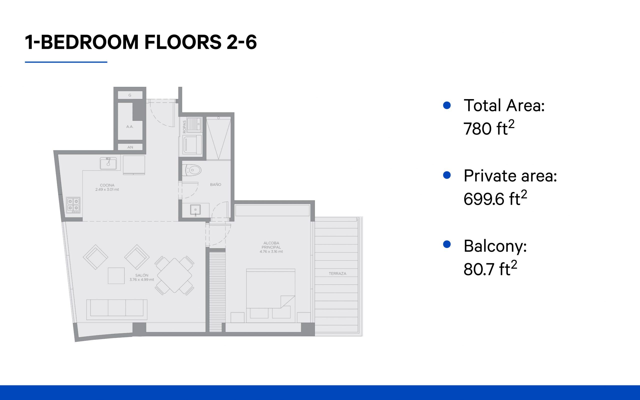 1-bedroom (2-6 floors)