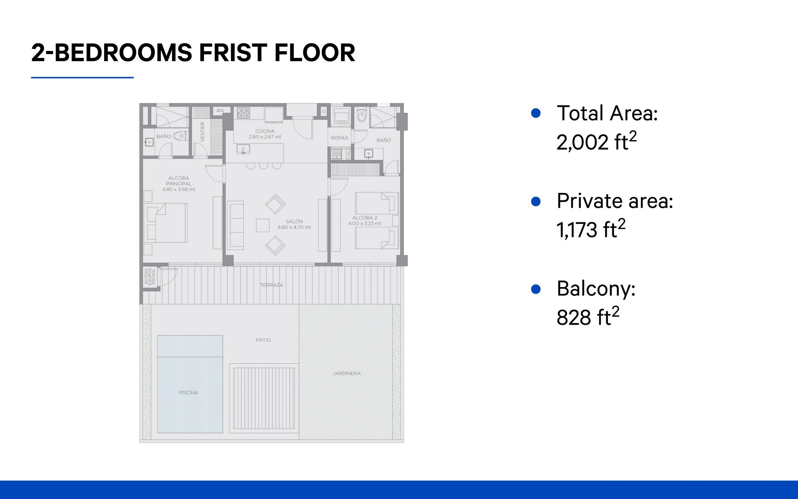 2-bedroom (first floor)
